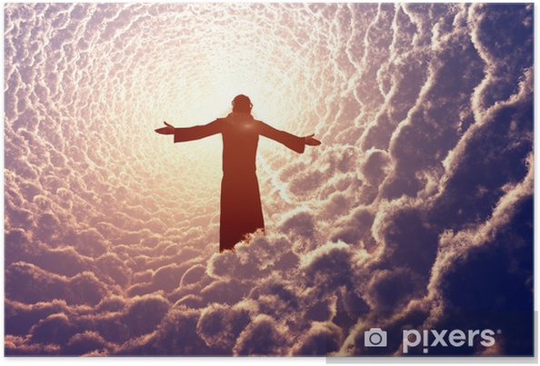 Poster Jezus in de wolken. - Religie en Cultuur