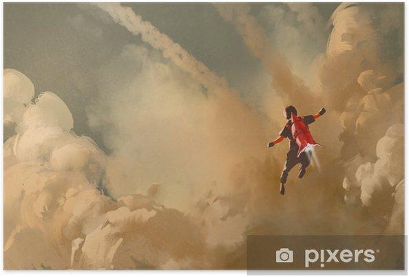 Poster Jongen vliegen in de bewolkte hemel met jet pack raket, illustratie schilderen - Hobby's en Vrije tijd