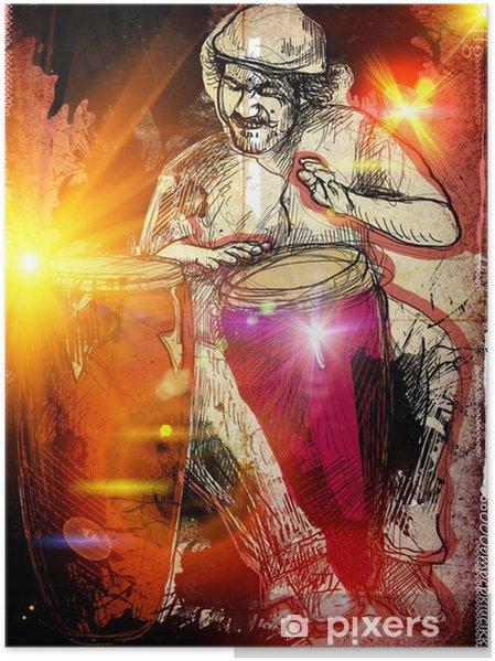 Poster Joueur de conga - un coup de main illustration tirée - Divertissements