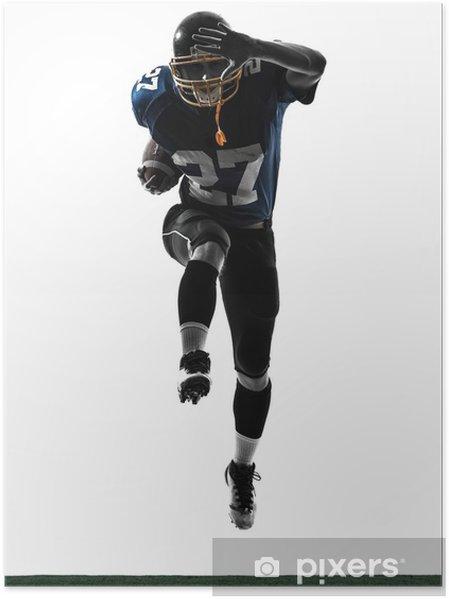 Poster Joueur de football américain running man silhouette - Sticker mural