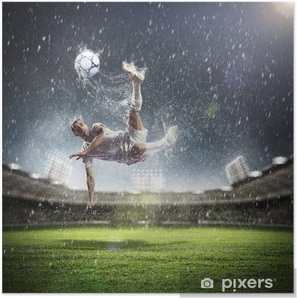 Poster Joueur de football frapper la balle - Thèmes