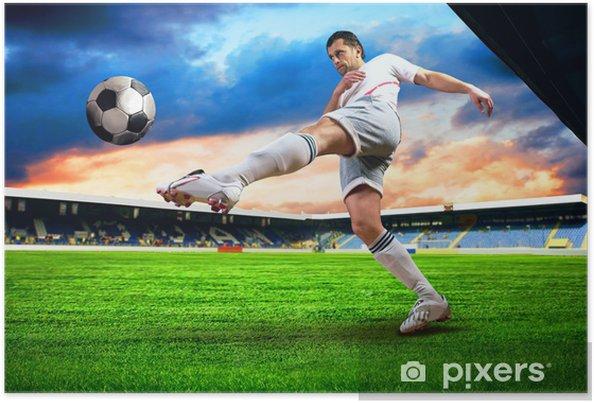 Poster Joueur de football le bonheur après le but sur le terrain de l'esprit stade - Destin