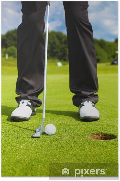 Poster Joueur de golf mettant la bille dans le trou - Golf