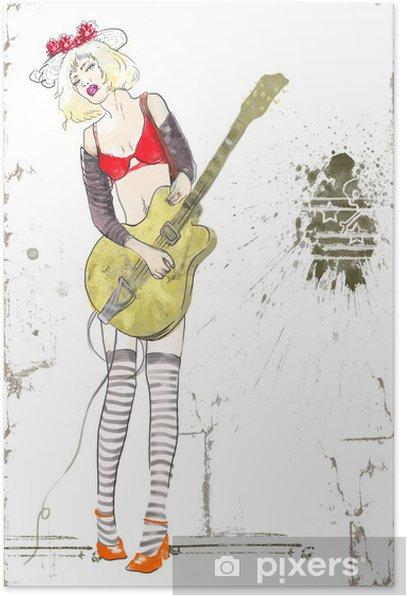 Poster Joueur de guitare, fille, dessin à la main - Musique