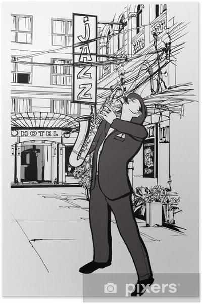 Poster Joueur de saxophone dans une rue la nuit - Jazz