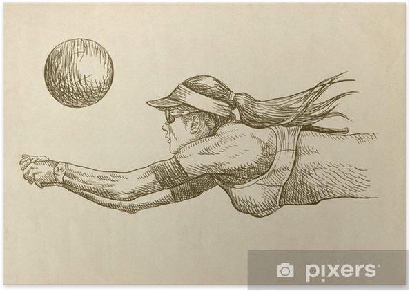 Poster Joueur de volleyball - dessin - Volley-Ball