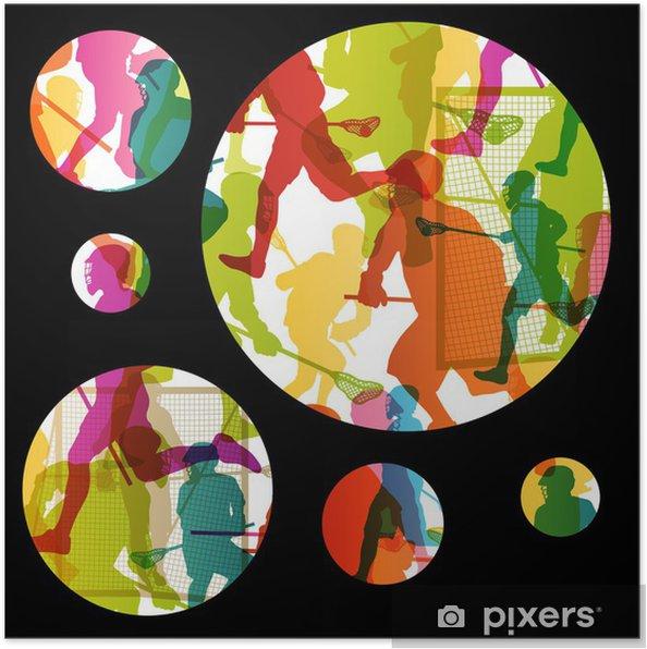 Poster Joueurs de crosse actifs hommes sport silhouettes backgrou abstrait - Autres sentiments