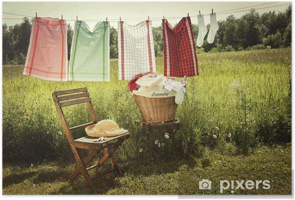 Poster Jour de lavage avec lessive sur la corde à linge - Maisons et jardins