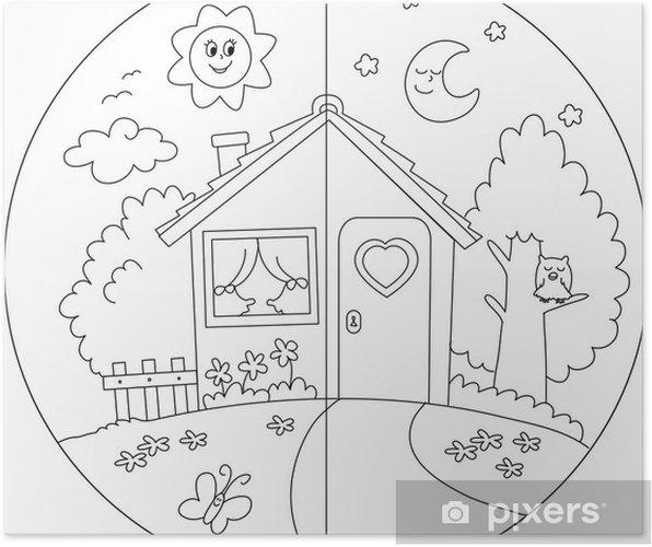 Poster Jour Et Nuit Maison De Campagne à Colorier Pour Les Enfants