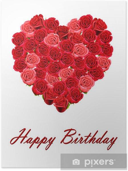 Poster Joyeux Anniversaire Avec Un Coeur De Roses