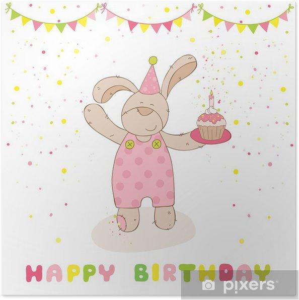 Poster Joyeux Anniversaire Et Cartes De Partie Gâteau De Lapin De Bébé Et Anniversaire