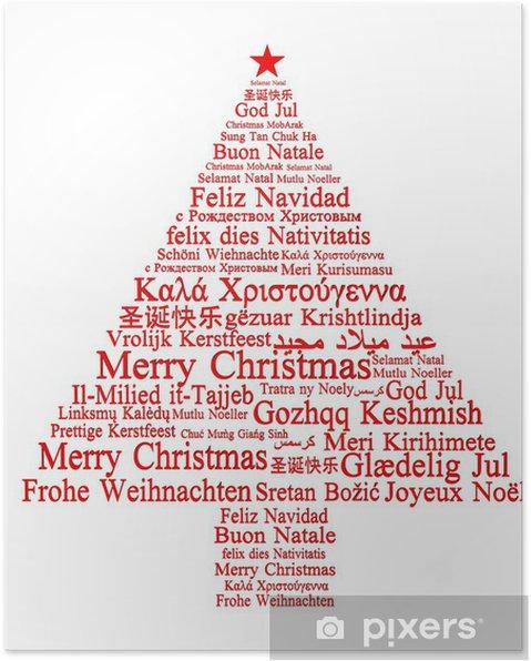 Poster Joyeux Noël dans différentes langues formant un arbre de Noël - Fêtes internationales