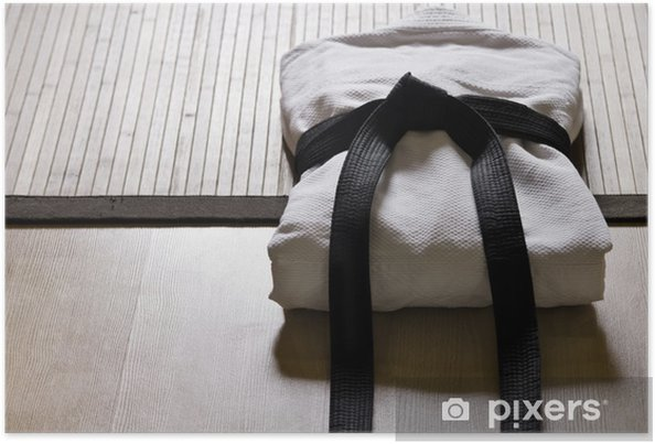 Poster Judo gi avec ceinture noire - Art martial