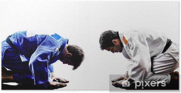 Poster Judokas combattants défense silhouettes hommes - Sports individuels
