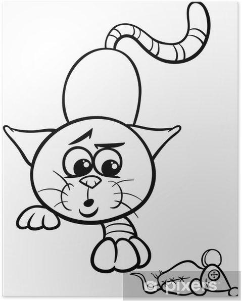 Póster Jugando Al Gato Para Colorear De Dibujos Animados