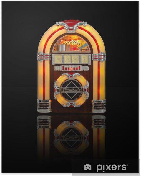 Poster Juke box radio isolerade på svart bakgrund - Musik