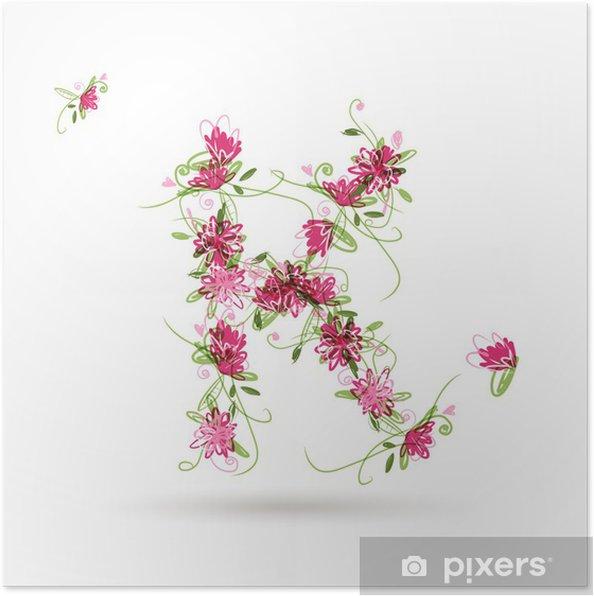 Póster K carta floral para su diseño - Señales y símbolos