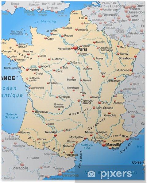 Poster Kaart van Frankrijk met de buurlanden in oranje - Thema's