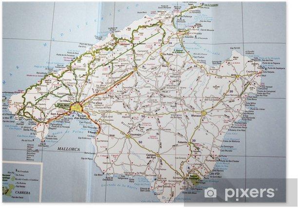 Poster Kaart van Mallorca - Thema's