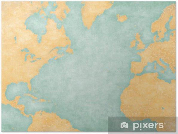 atlantische oceaan kaart Poster Kaart van Noord Atlantische Oceaan   Blank kaart (vintage
