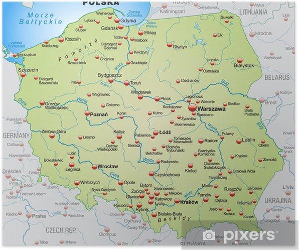Poster Kaart van Polen met de buurlanden - Thema's