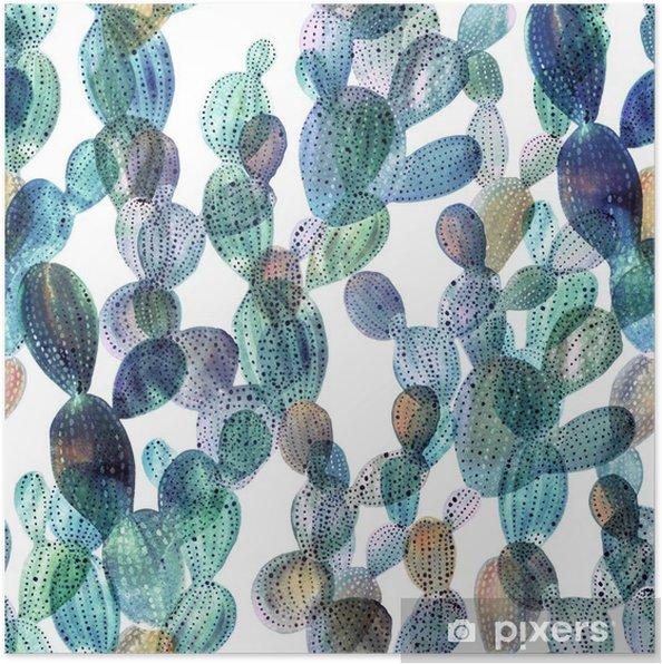 Poster Kaktus mönster i akvarell stil - Växter & blommor