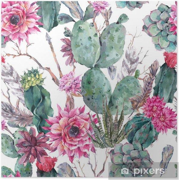 Poster Kaktus vattenfärg seamless i boho stil. - Till brud salong