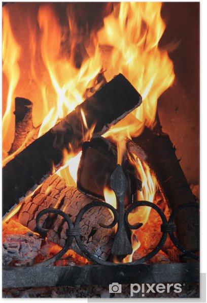 Kaminfeuer - Hochformat Poster - Fireplace