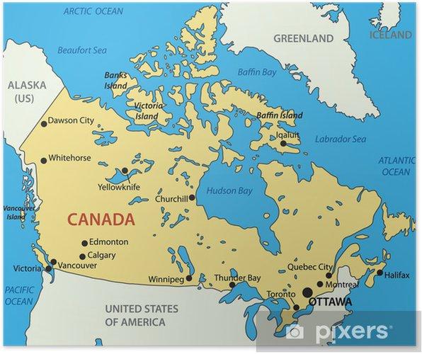 Karta Pa Kanada.Poster Kanada Vektor Karta Pixers Vi Lever For Forandring
