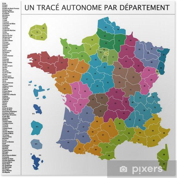 Poster Karta Over Frankrike En Vektor Med Avdelning Pixers