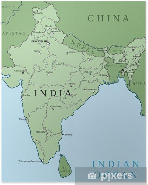 Poster Karta Over Indien Pixers Vi Lever For Forandring