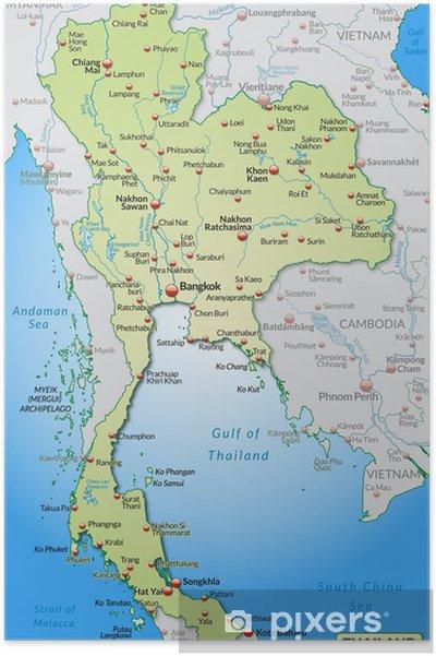 Karta Indien Thailand.Poster Karta Over Thailand Och Omgivande Omraden Med Versaler
