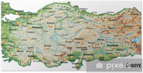 Karta Europa Turkiet.Poster Karta Over Turkiet Med Skuggning Pixers Vi Lever For