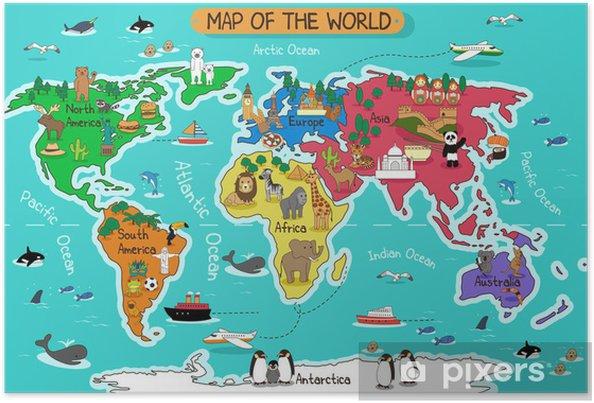Karta Europa Tidszoner.Poster Karta Over Varlden Pixers Vi Lever For Forandring
