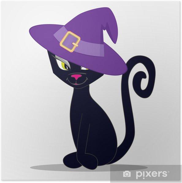 Poster Kat en hoed - Zoogdieren