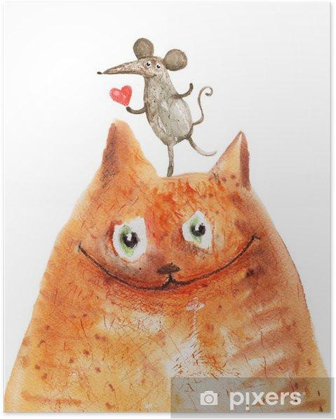 Poster Katt med mause - Känslor