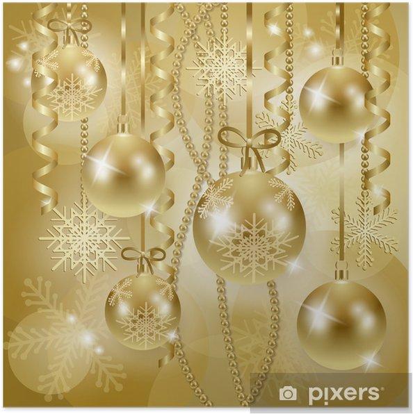 Poster Kerst Achtergrond Met Kerstballen In Goud Pixers We