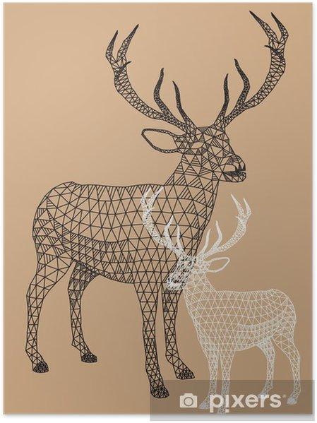 Poster Kerst rendieren met geometrisch patroon, vector - Levensstijl