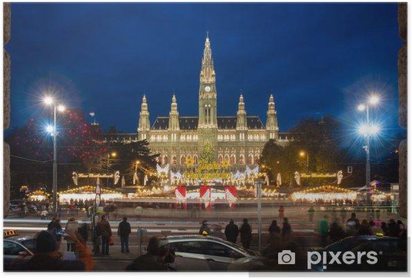 Poster Kerstmarkt In De Buurt Van Wenen City Hall Rathaus