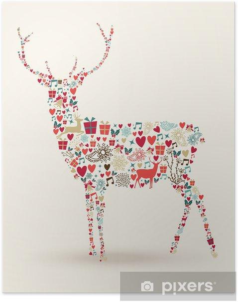 Poster Kerstmisrendier samenstelling - Vakantie