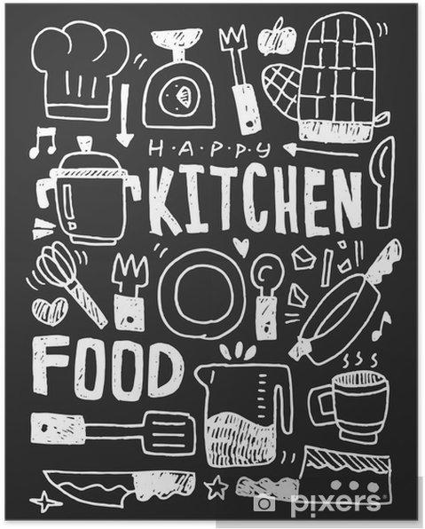 Poster Keuken elementen doodles hand getekende lijn pictogram, eps10 - Grafische Bronnen