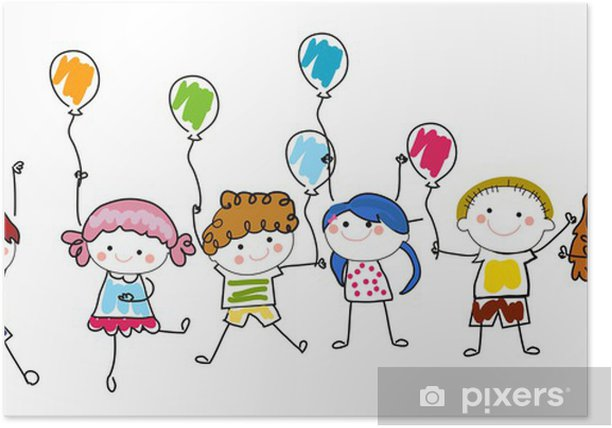 Kids and balloons Poster - Children