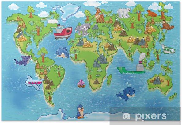 Poster Kids wereldkaart - iStaging