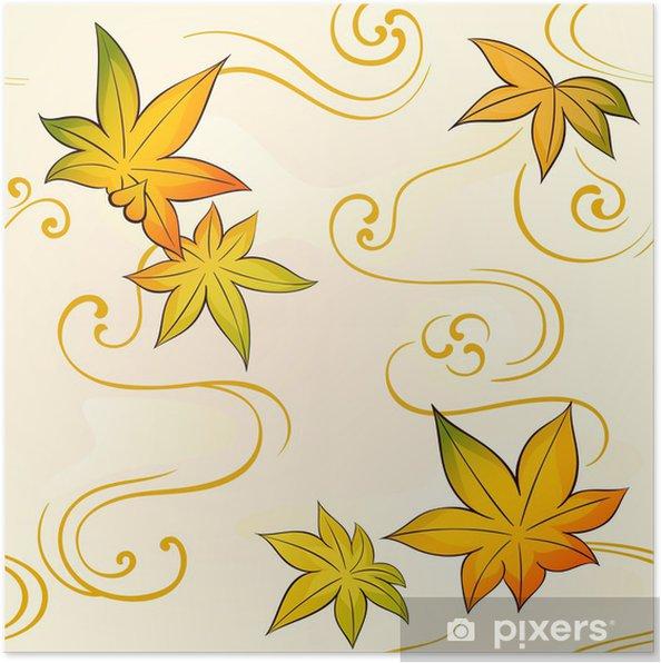 Póster Kimono patrón floral transparente con hojas de otoño - Asia