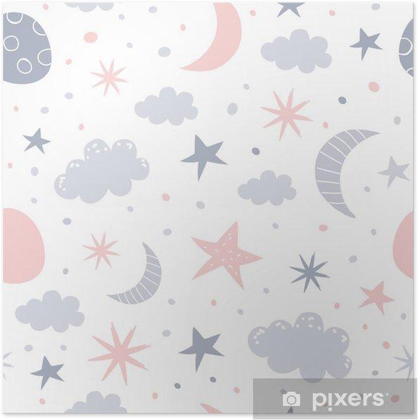 Poster Kinderdagverblijf patroon - Grafische Bronnen