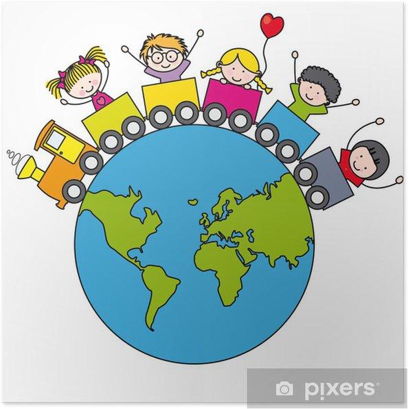 Poster Kinderen Op Een Trein Rond De Wereld Pixers We Leven