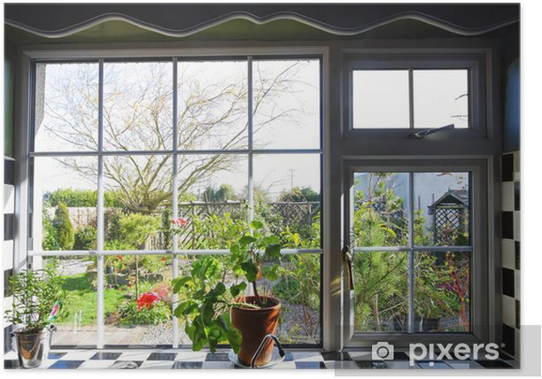 Kitchen window with the view on garden Poster - Destinations