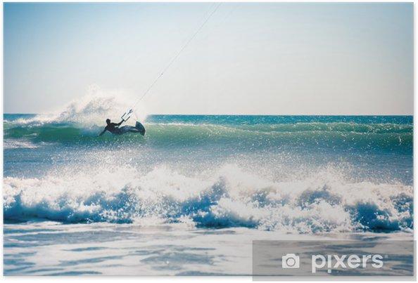 Poster Kite surf dans les vagues. - Sports aquatiques