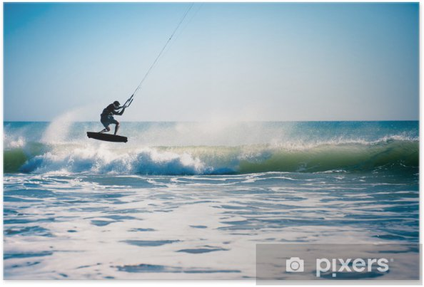 Poster Kite surfen in de golven. - Watersporten