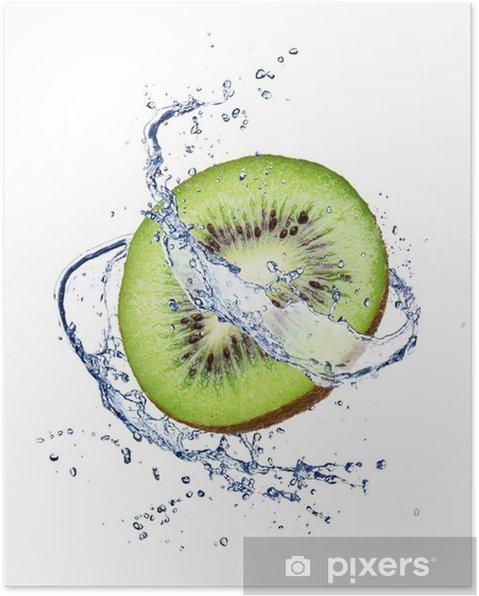Poster Kiwi dans les projections d'eau, isolé sur fond blanc - Fruits